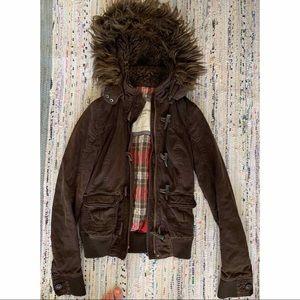 Brown jacket with fur